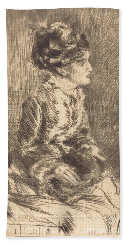 Beach Towel featuring the drawing The Muff by James Mcneill Whistler