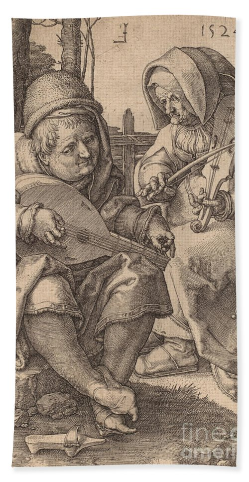 Beach Towel featuring the drawing The Musicians by Lucas Van Leyden