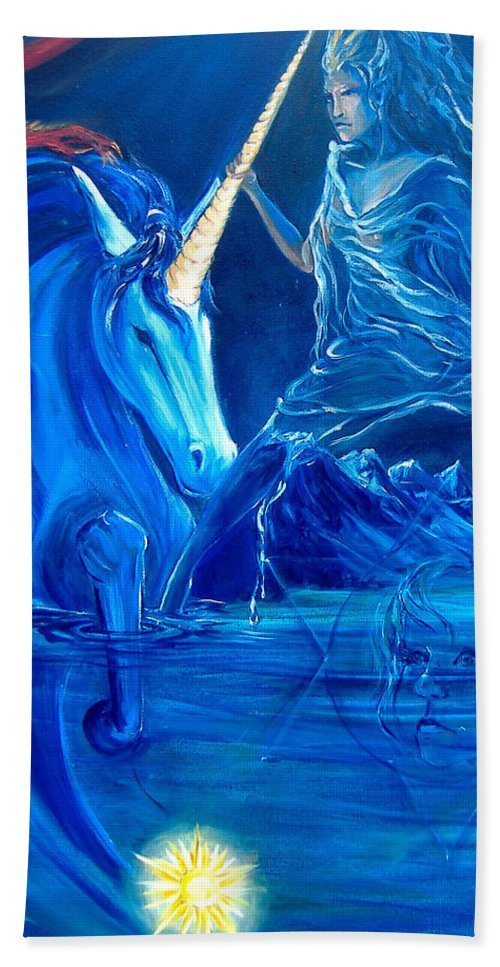 The Aquarian Characters Beach Towel featuring the painting The Naeyad With Cyro And Starchild by Jennifer Christenson