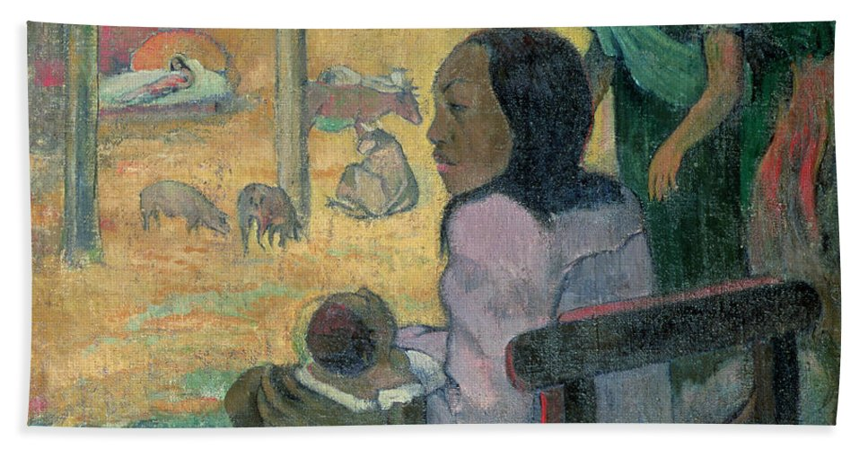Be Be (the Nativity) Beach Towel featuring the painting The Nativity by Paul Gauguin