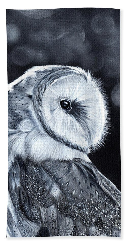 Owl Beach Towel featuring the mixed media The Night Watcher by Bonnita Moaby