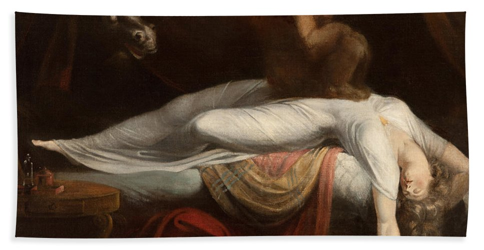 The Beach Towel featuring the painting The Nightmare by Henry Fuseli