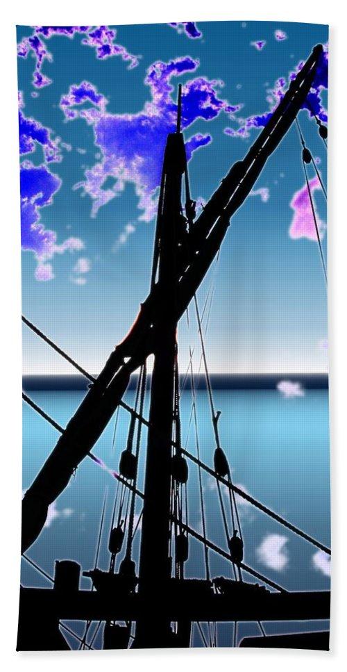 Seattle Beach Sheet featuring the digital art The Nina Mast by Tim Allen