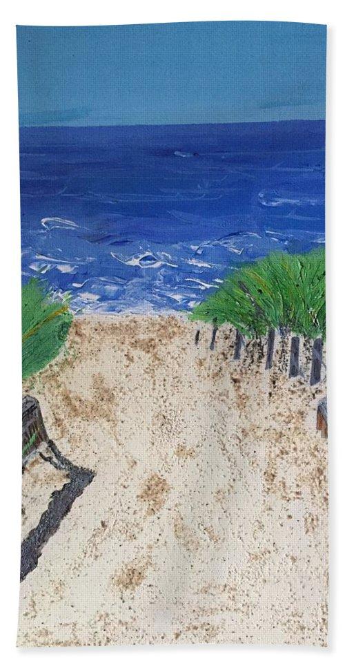 Ocean Beach Towel featuring the painting The Ocean View by Stephanie Farina
