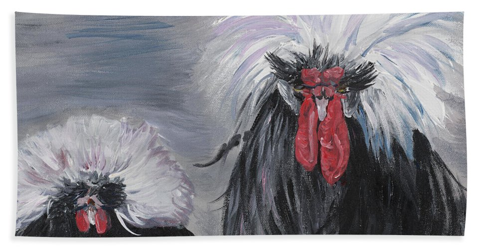 Odd Chickens With Wild Hair Beach Towel featuring the painting The Odd Couple by Nadine Rippelmeyer