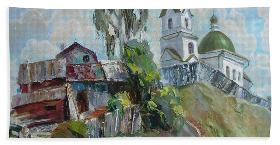 Oil Beach Towel featuring the painting The Old And New by Sergey Ignatenko