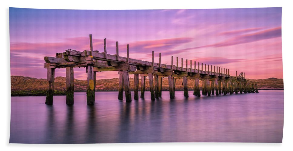 Old Bridge Beach Towel featuring the photograph The Old Bridge at Sunset by Roy McPeak