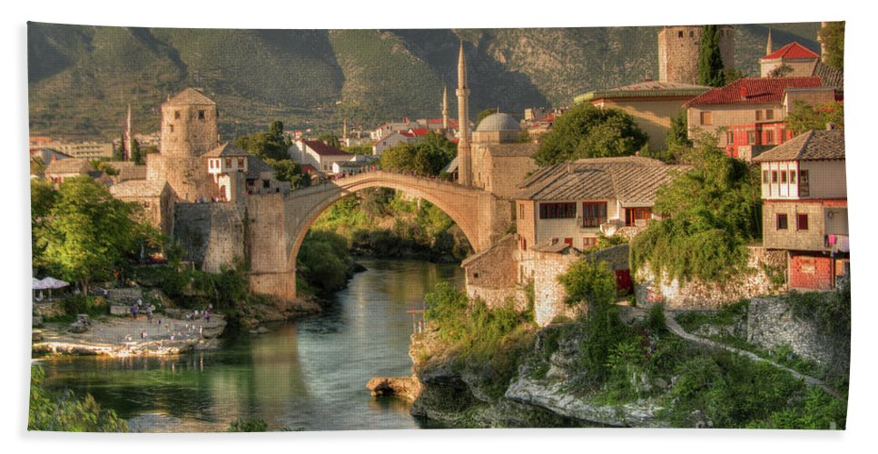 Stari Beach Towel featuring the photograph The Old Bridge Of Mostar by Rob Hawkins