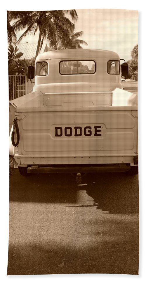 Sepia Beach Towel featuring the photograph The Old Dodge by Rob Hans