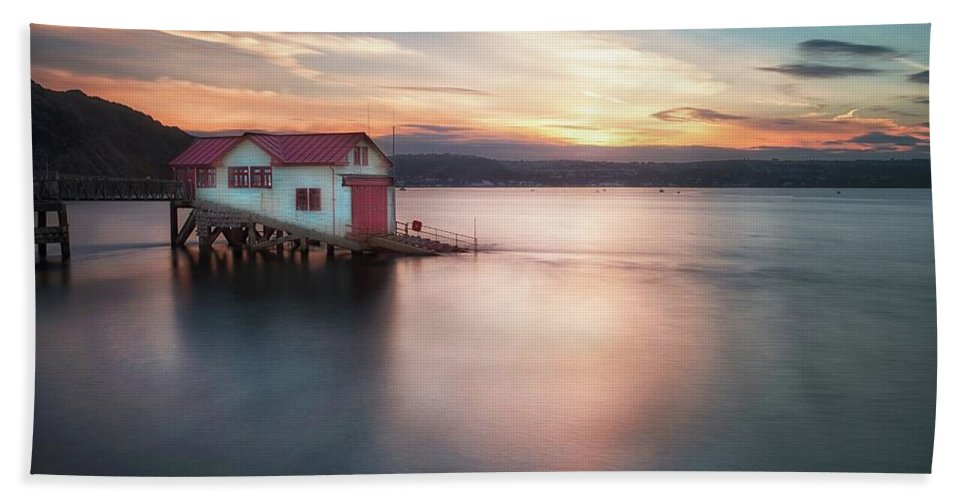 Old Lifeboat Station Beach Towel featuring the photograph The Old Lifeboat Station At Mumbles by Leighton Collins