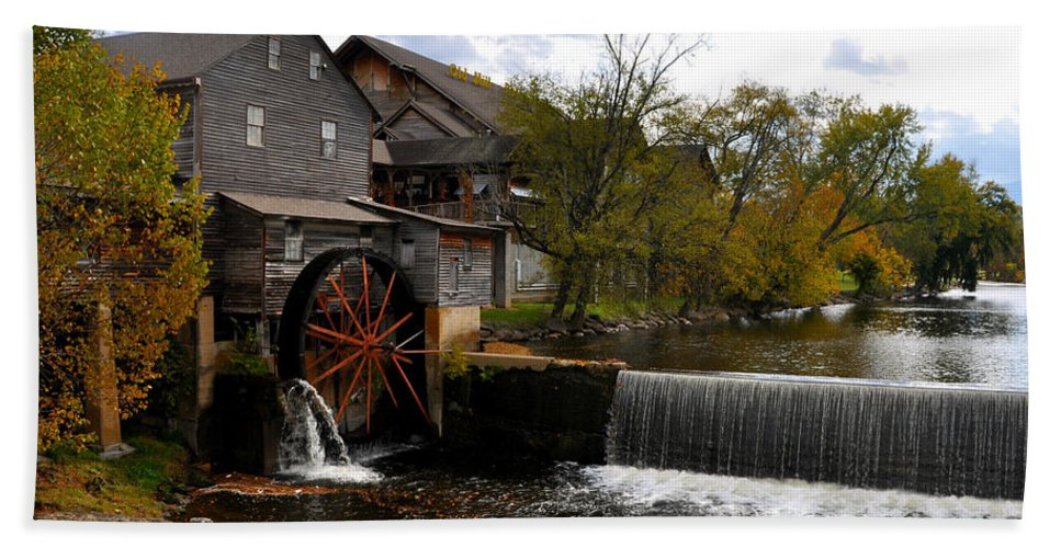 Smokey Mountain Beach Towel featuring the photograph The Old Mill by Brittany Horton