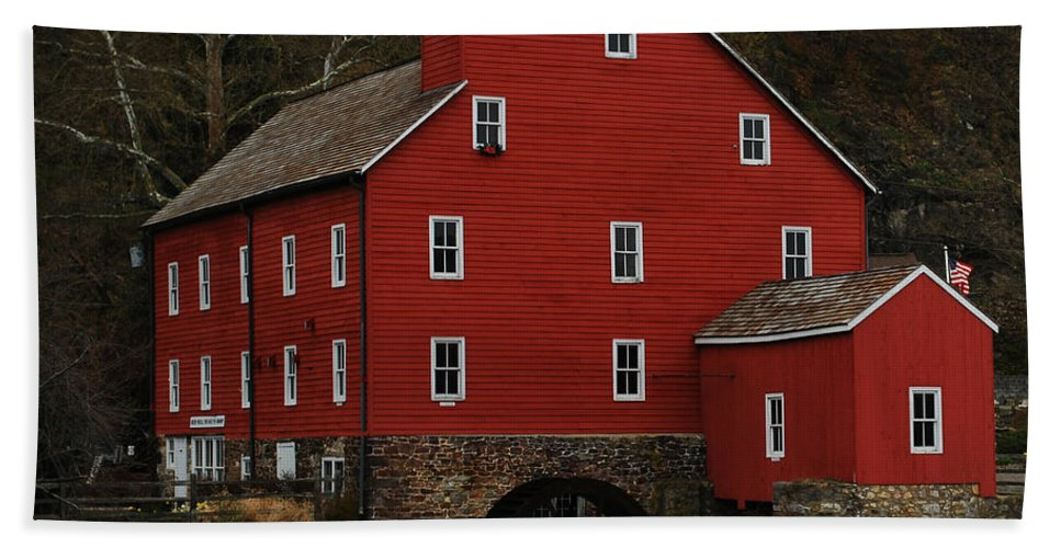 Water Mill Beach Towel featuring the photograph The Old Mill In Clinton Nj by Lori Tambakis