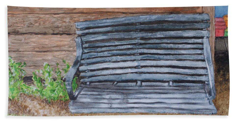 Shed Beach Towel featuring the painting The Old Porch Swing by Jean Haynes