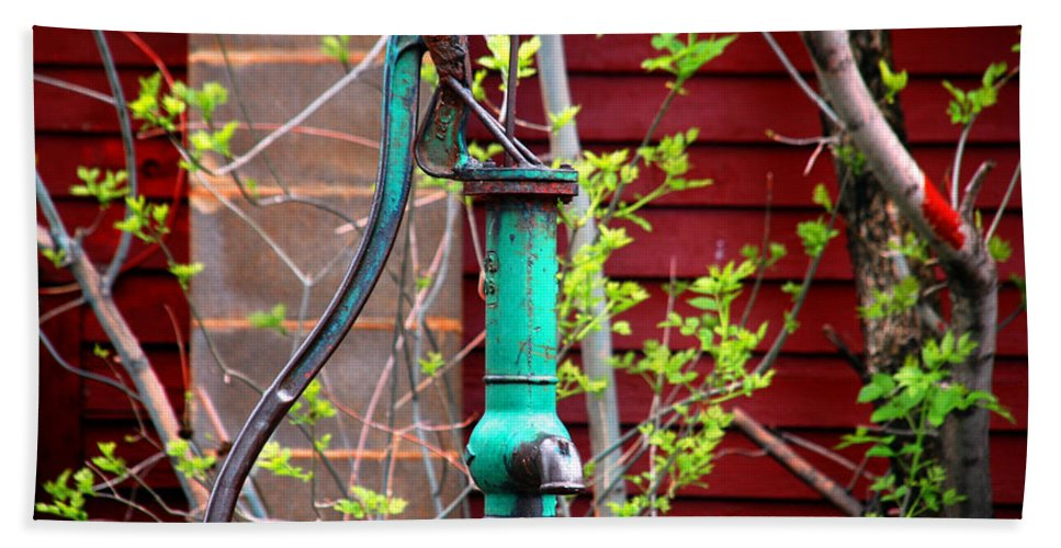 Photography Beach Towel featuring the photograph The Old Rusty Water Pump by Susanne Van Hulst