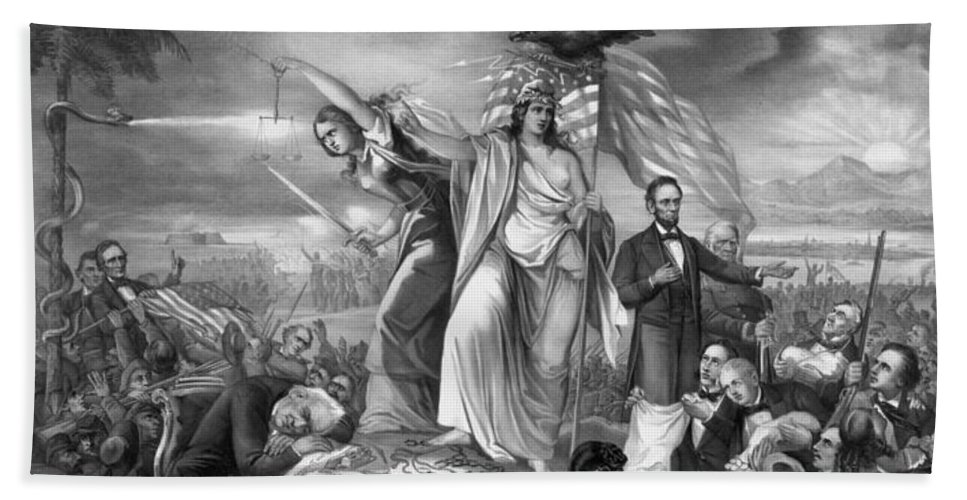 Civil War Beach Towel featuring the drawing The Outbreak Of The Rebellion In The United States by War Is Hell Store