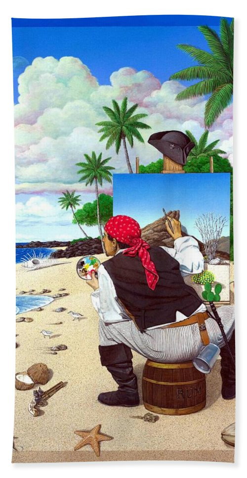 Pirate Beach Towel featuring the painting The Painting Pirate by Snake Jagger