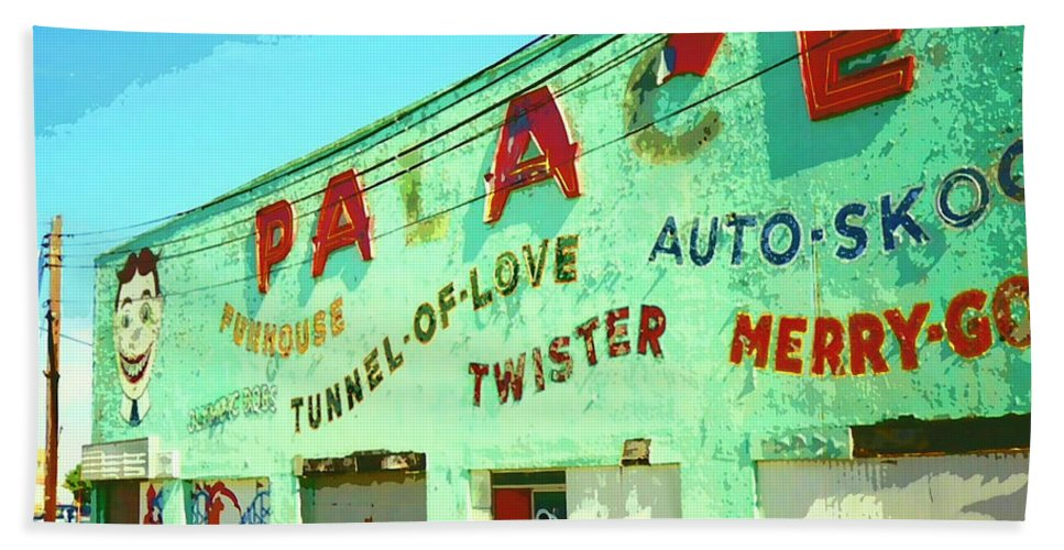 The Palace Beach Towel featuring the mixed media The Palace At Asbury Park by Dominic Piperata