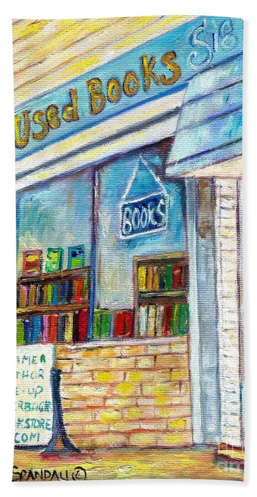 Book Store Beach Towel featuring the painting The Paperbacks Plus Book Store St Paul Minnesota by Carole Spandau