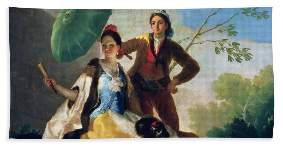The Beach Towel featuring the painting The Parasol by Goya