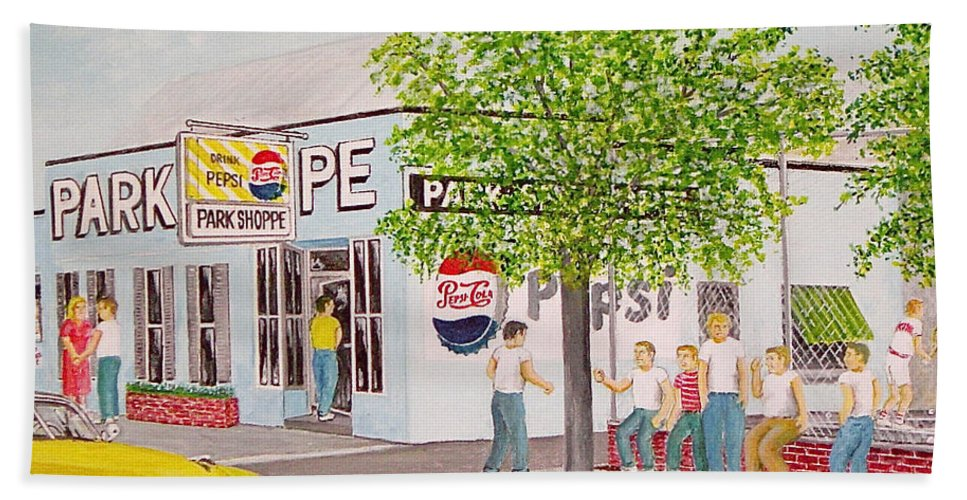 Portsmouth Ohio Mound Park Park Shoppe Beach Towel featuring the painting The Park Shoppe Portsmouth Ohio by Frank Hunter