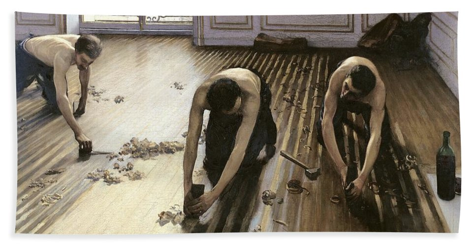 Gustave Caillebotte Beach Towel featuring the painting The Parquet Planers by Gustave Caillebotte