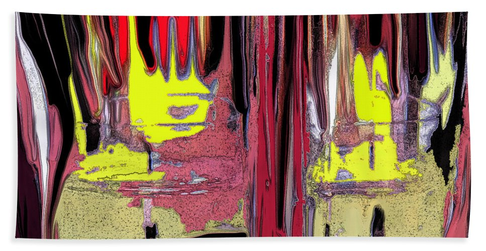 Abstract Beach Towel featuring the digital art The Party by Ian MacDonald