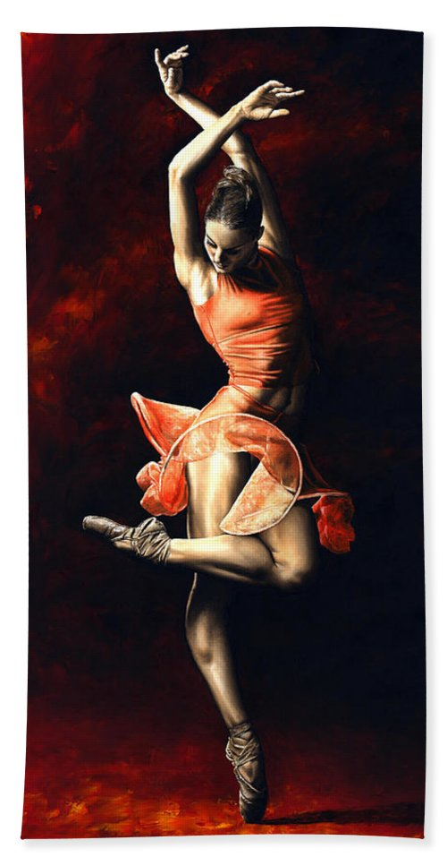 Dancer Beach Towel featuring the painting The Passion Of Dance by Richard Young