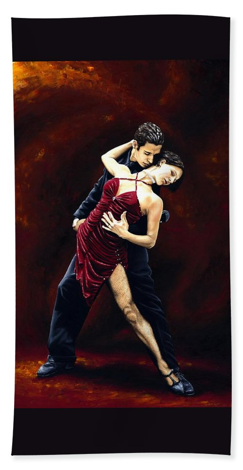 Tango Beach Towel featuring the painting The Passion of Tango by Richard Young