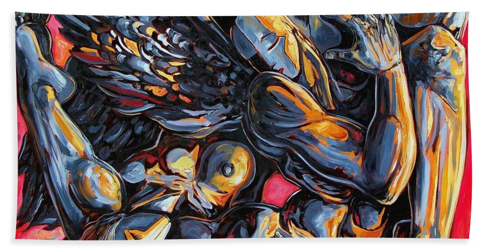 Surrealism Beach Towel featuring the painting The passion of the fallen by Darwin Leon
