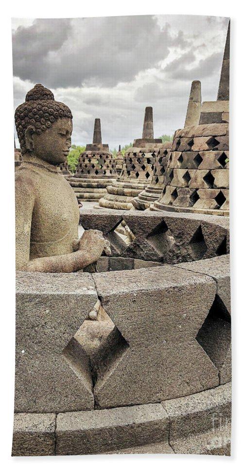 Borobudur Beach Towel featuring the photograph The Path Of The Buddha #4 by Edit Kalman