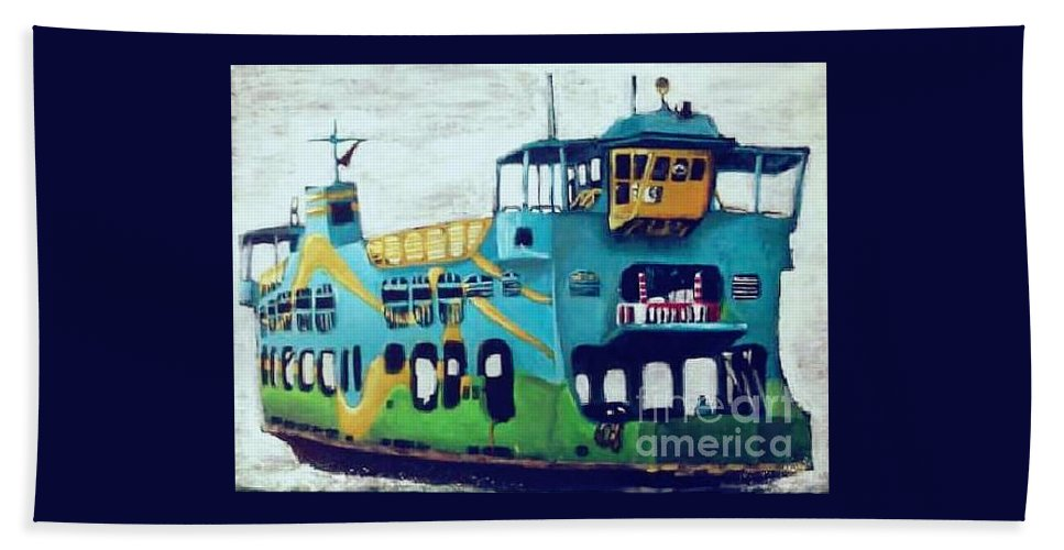 Beach Towel featuring the painting The Penang Ferry by Choy Choy