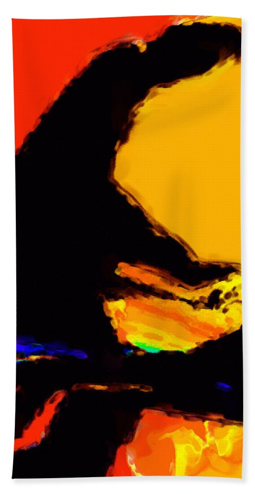 Abstract Beach Towel featuring the digital art The Pianist by Richard Rizzo