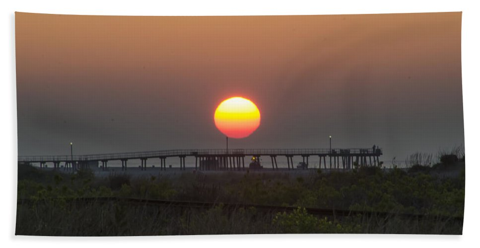 Bill Beach Towel featuring the photograph The Pier At Wildwood Crest At Sunrise by Bill Cannon