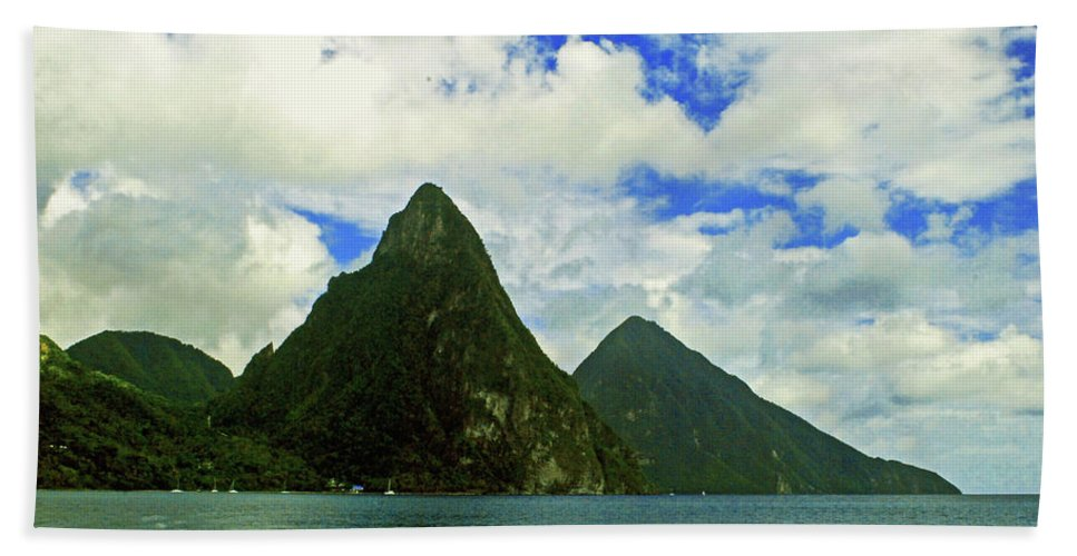 Caribberan Islands Beach Towel featuring the photograph The Pitons by Gary Wonning