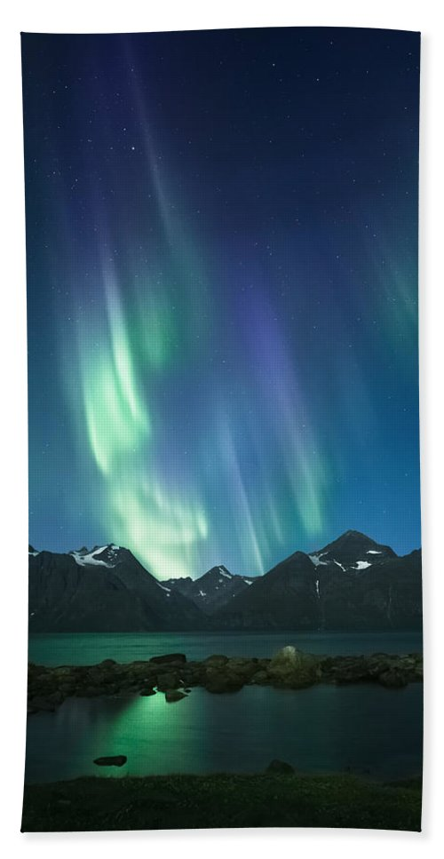 Pond Beach Towel featuring the photograph The Pond And The Fjord by Tor-Ivar Naess