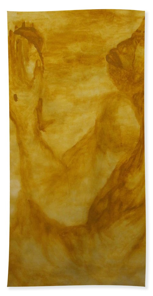 Gloria Ssali Beach Towel featuring the painting The Potter by Gloria Ssali