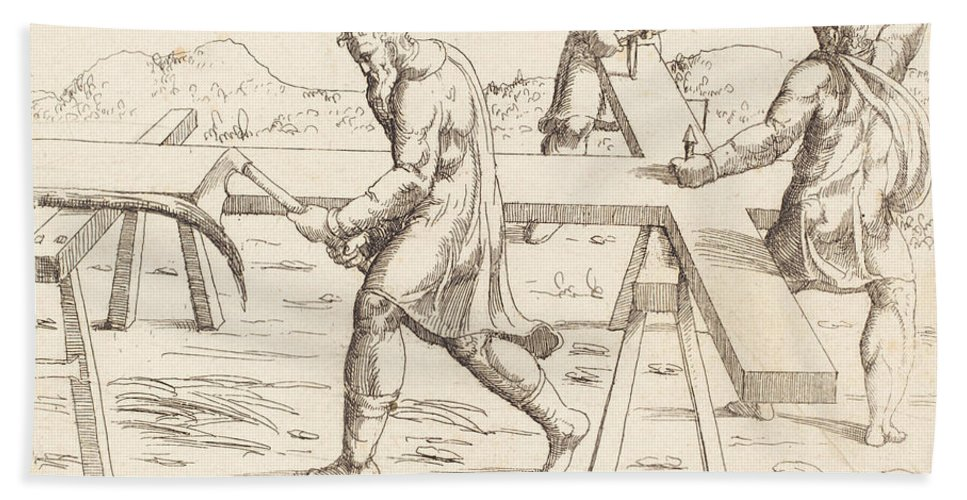 Beach Towel featuring the drawing The Preparation Of The Cross by Augustin Hirschvogel
