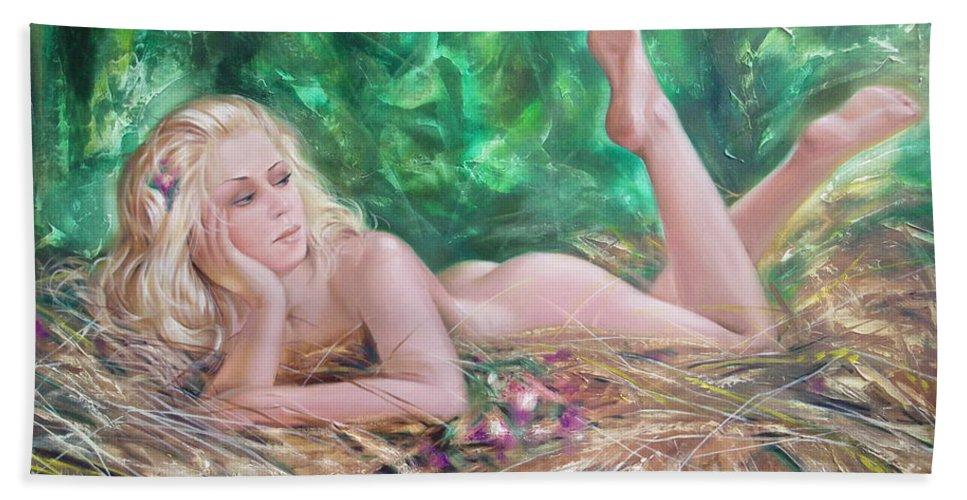 Ignatenko Beach Sheet featuring the painting The Pretty Summer by Sergey Ignatenko