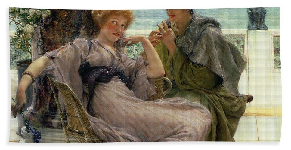 Courtship (the Proposal) 1892 (oil On Canvas) By Sir Lawrence Alma-tadema (1836-1912) Beach Towel featuring the painting The Proposal by Sir Lawrence Alma Tadema