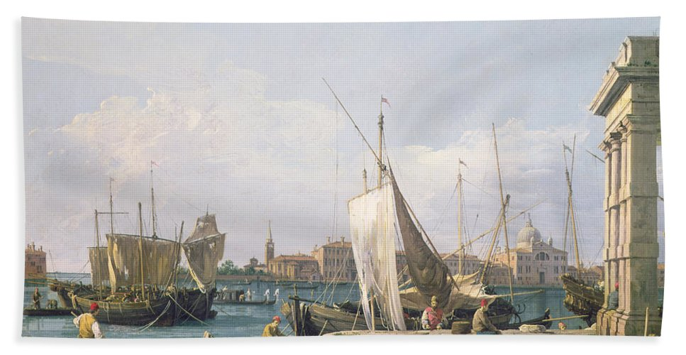 Canals Beach Towel featuring the painting The Punta Della Dogana by Canaletto