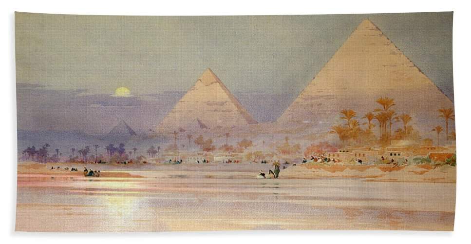 The Beach Towel featuring the painting The Pyramids At Dusk by Augustus Osborne Lamplough