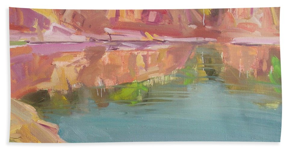 Oil Beach Towel featuring the painting The Quarry by Sergey Ignatenko