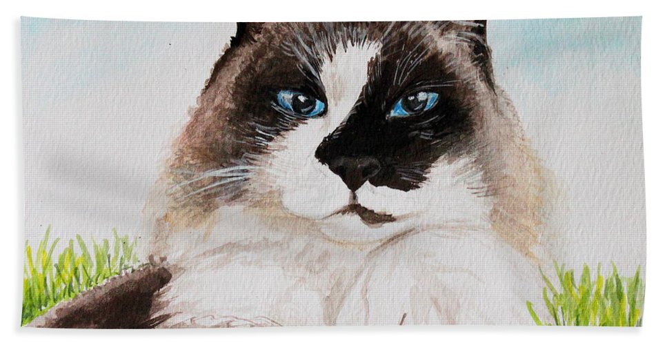 Pet Beach Towel featuring the painting The Ragdoll by Elizabeth Robinette Tyndall
