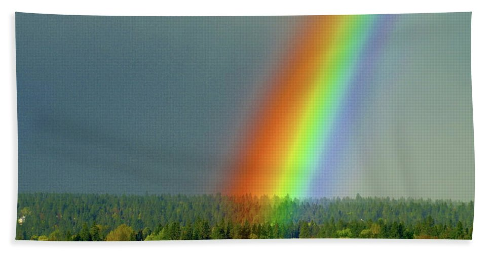 Nature Beach Towel featuring the photograph The Rainbow Apartments by Ben Upham III