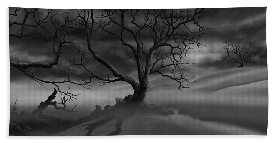 Dark Tree Beach Towel featuring the painting The Raven's Night by James Christopher Hill