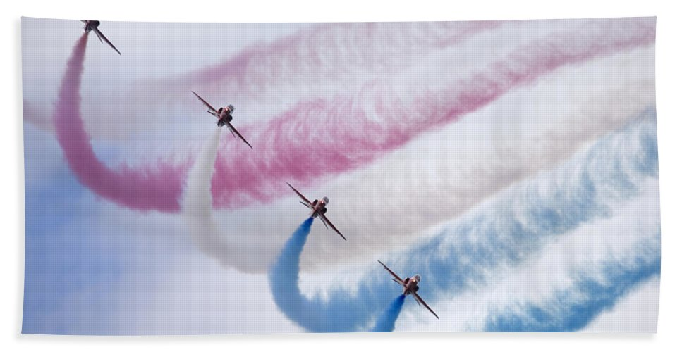 Red Beach Towel featuring the photograph The Red Arrows by Ian Middleton