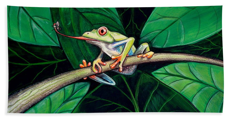 Frog Beach Towel featuring the painting The Red Eyed Tree Frog by Elizabeth Robinette Tyndall