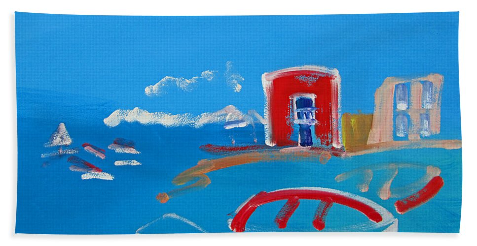 Puerto Beach Towel featuring the painting The Red House La Casa Roja by Charles Stuart