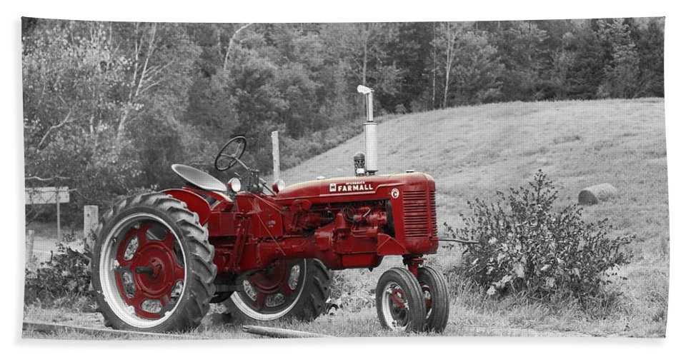 Tractor Beach Towel featuring the photograph The Red Tractor by Aimelle