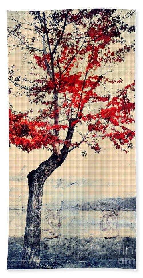 Tree Beach Towel featuring the photograph The Red Tree At Okanagan Lake by Tara Turner